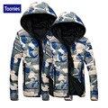 Toonies Algodão-acolchoado Jaqueta de Camuflagem Militar Impressão Casal Amante Parka Casaco Com Capuz Slim Fit Inverno Manga Longa Com Zíper Outwear
