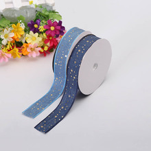 New Two-Tone Medium Ribbon 2.5 cm Wide Denim Gold Stars Print Sky Blue Bedroom Decoration Material Ribbon Sewing Home Webbing two tone geo print headband
