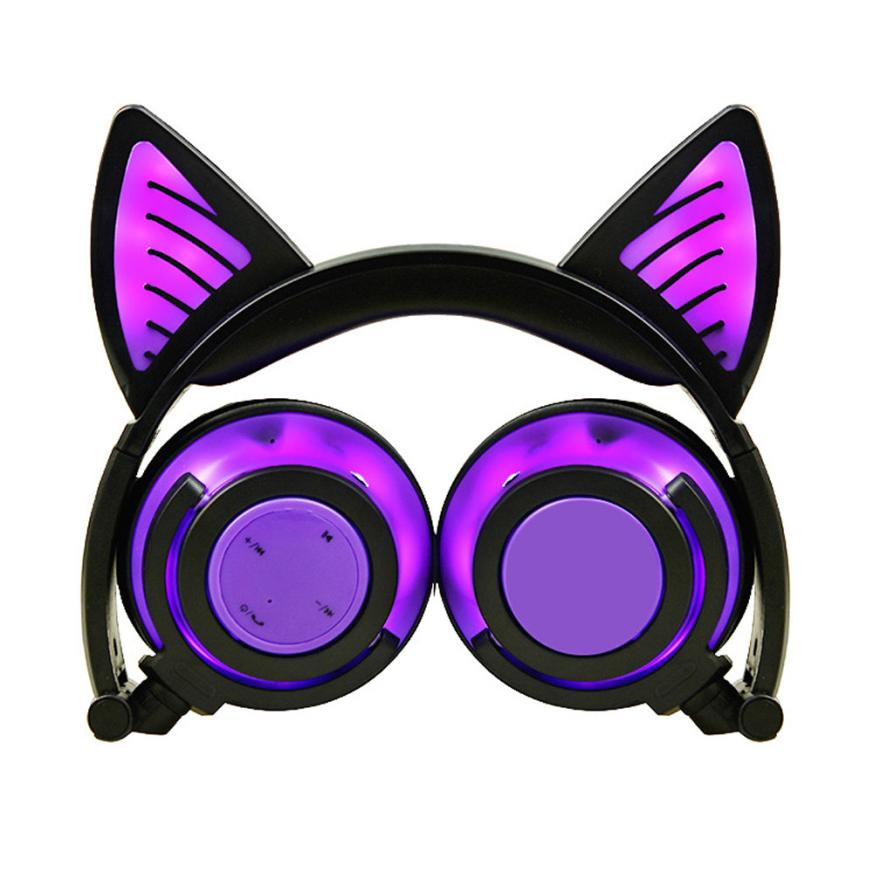 2018 New Kids Wireless Cute BluetoothV4.2Headphones With Cat Ear LED On Ear Foldable Headset For Kids Earphone cat ears Design slogan print cat ear marled hoodie
