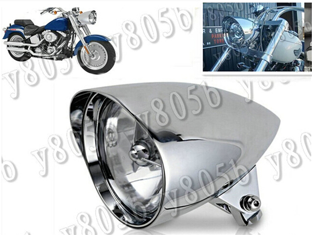 Motorcycle Chrome Bullet Tri Bar 575 Headlight For Kawasaki Vulcan