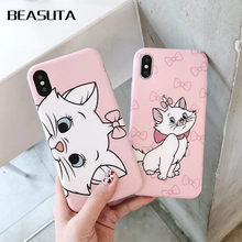 Rose dessin animé Aristochats Marie Chats chat Housse étui pour iphone XS MAX XR X 6 6s 8 plus 7 7PLUS 8 plus X capas(China)