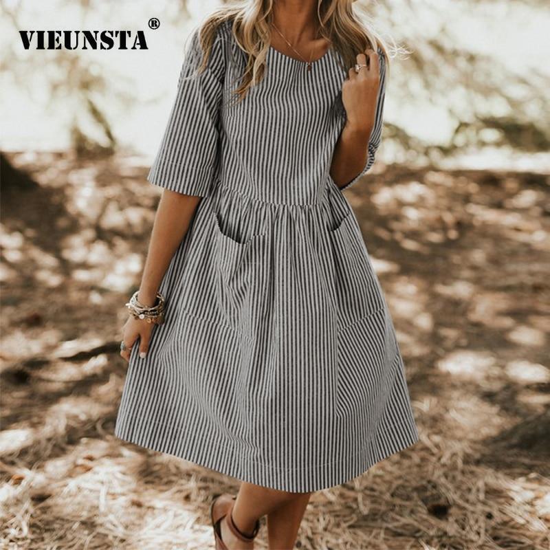 VIEUNSTA 2019 Women Dress Elegant O Neck Half Sleeve Pocket Loose Party Dress Summer Work Stripe Ladies Dress Sundress Oversized