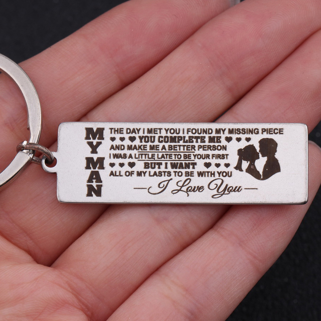 """""""Meu Homem EU Te Amo"""" Chave de Cadeia Para O Amante Casal Presente de Aniversário Dia Dos Namorados Namorado Marido Chave pingente de Chave Do Carro Decoração"""