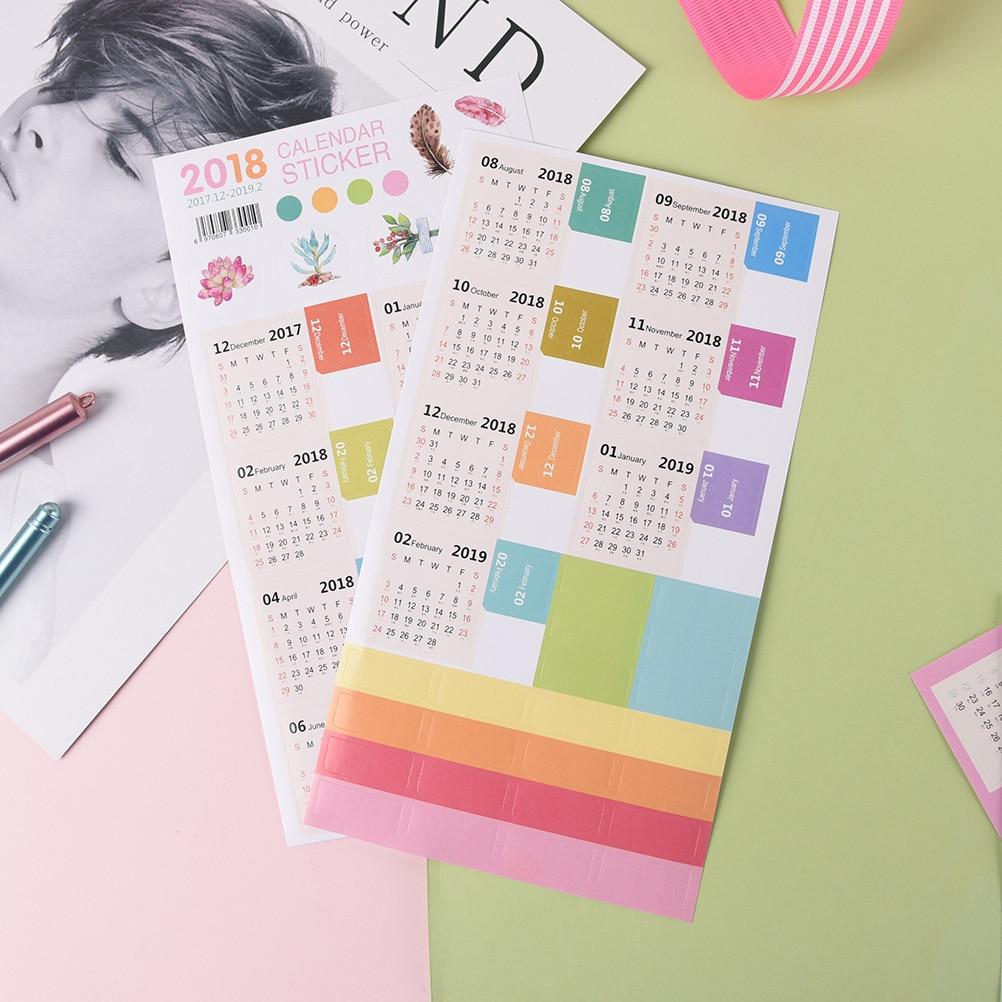 Offen 2 Teile/satz Neue Und Hohe Qulity 2018 Diy Schmücken Aufkleber Kalender Kawaii Cartoon Kalender Index Aufkleber Kalender Office & School Supplies
