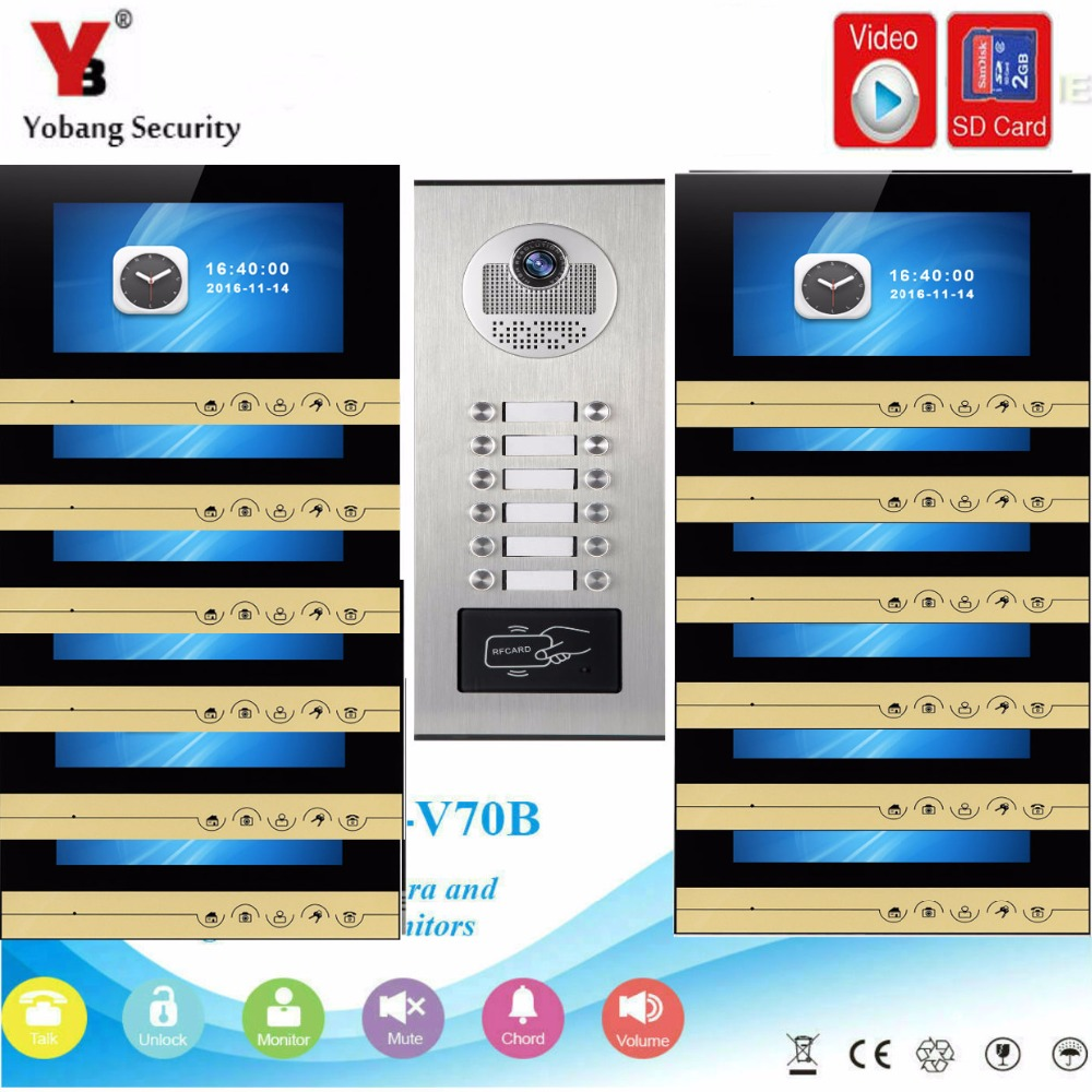 YobangSecurity Video Intercom 7 Inch Monitor Video Door Phone Doorbell Camera RFID Access With Video Recording For 12 Apartment