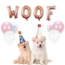 Dog birthday balloons WOOF letter balloon pet products hat rose gold globos party supplies animal safari decor