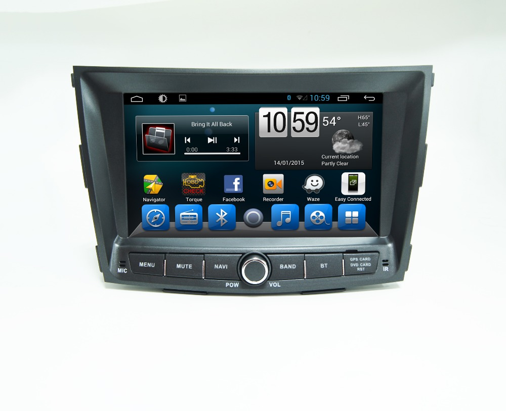 8 1024 600 Android 4 4 Autoradio gps for Ssangyong Tivolan with radio BT SWC RDS