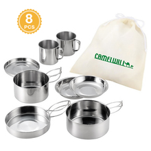 8Pcs/set Outdoor Stainless Steel Pot Set Camping Soup Coffee Water Cups Tableware Cookware Plate/Bowl/Cup/Pan for 1-2 People