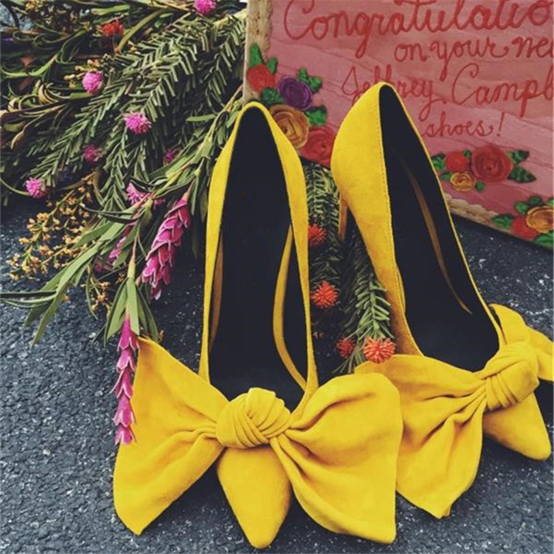 Bow Tie High Heels Fashion Pointed Toe Sweet Women Pump Spring Autumn Wedding Shoes Woman Zapatos Escarpins Femme Butterfly-knot egonery shoes 2017 spring and autumn concise wedges butterfly knot pumps simple lace up sweet round toe women fashion high heels