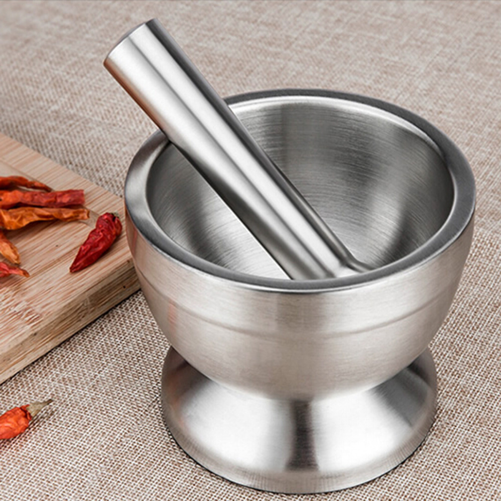 Double Stainless Steel Garlic Press Pot Garlic Grinder for Pepper Chillies Dried font b Foods b