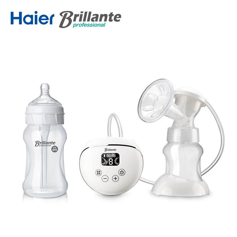 Haier BRILLANTE USB и Li батарея мощность Электрический молокоотсос Молоко Sucker мощность ful всасывания PP анти колик Детские бутылочка для кормления
