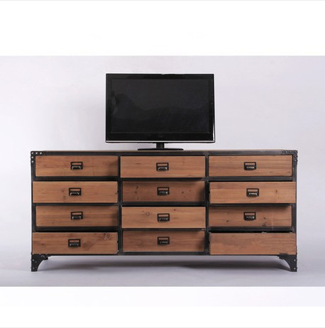 American Country Retro Living Room TV Cabinet Wood With Three Drawers Landmark Formula Can Support Custom