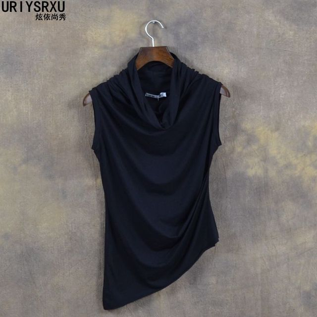In Summer of Cultivate Morality Sleeveless Vest High Collar Short Sleeve T Shirt Asymmetric Clothes Men Clothing T Shirts