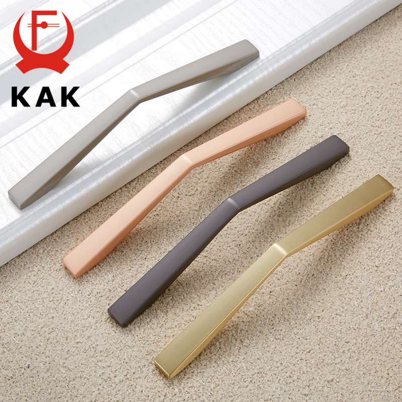 KAK Zinc Alloy Gray Gold Cabinet Handles Drawer Knobs Kitchen Cupboard Door Pulls Fashion Furniture Handle Cabinet Hardware