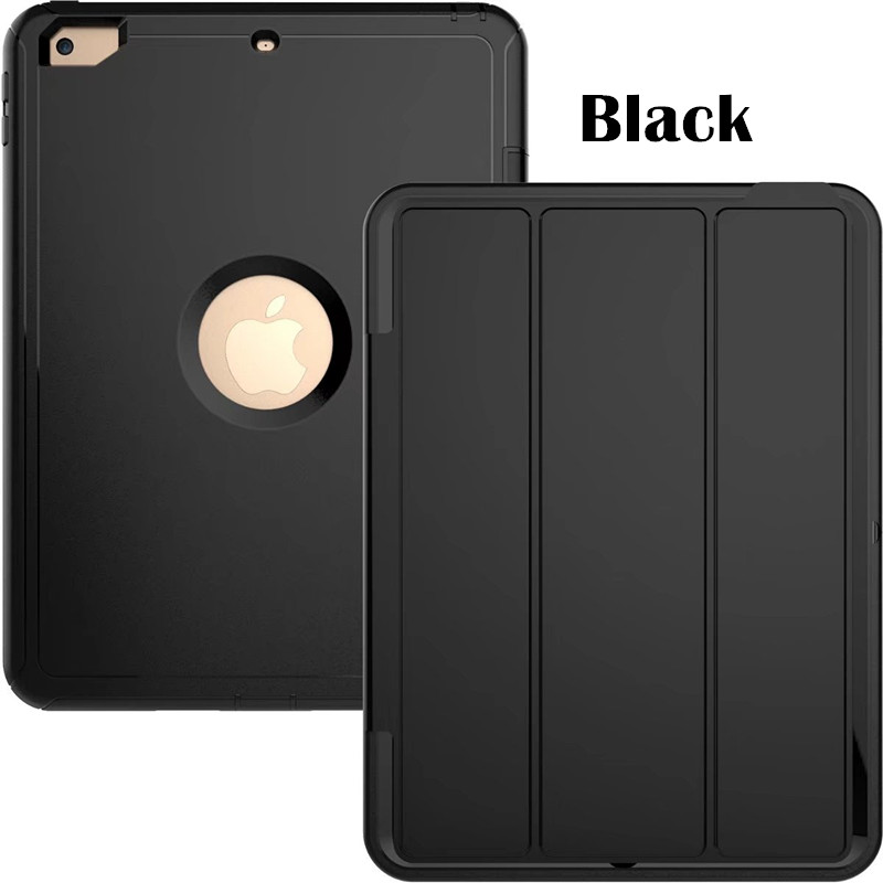 Black Heavy smart case with 3stand for iPad 9.7 (2017, 2018, A1822, A1893)