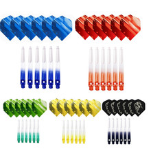 MRTNAN 6PCS 2BA 45mm Nylon Dart Shafts With Darts Flights Colorful Accessories