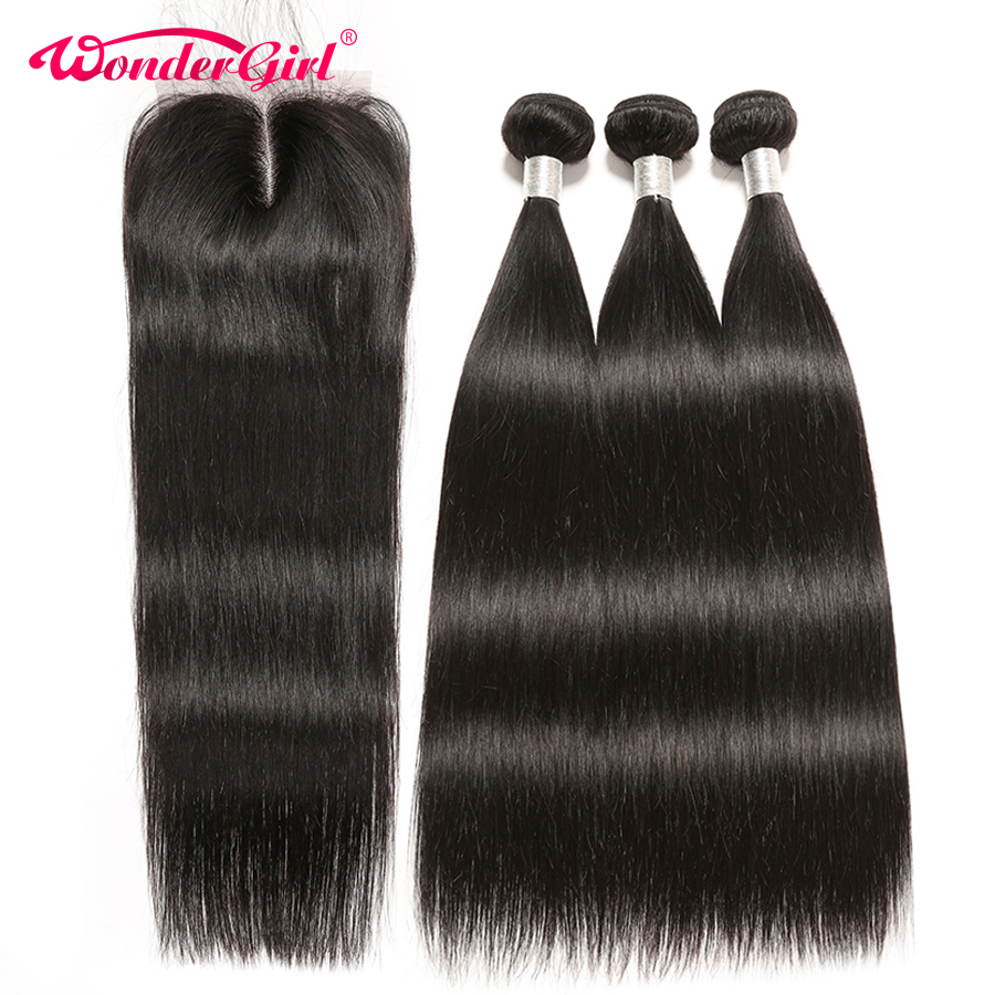 Peruvian Straight Hair Bundles With Closure 4pcs lot Remy Human Hair Bundles With Closure Wonder girl