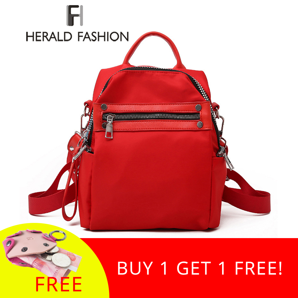 Herald Fashion Women Backpack Causal Nylon Back Pack High Quality Female Shoulder Bag School Backpacks For For Teenagers Girls