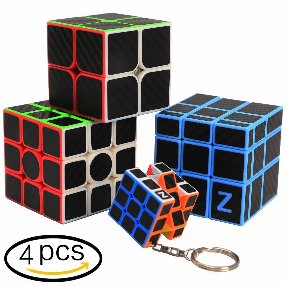 Z-Cube 4 PCS Speed Magic Cube Set 2x2 3x3x3 Mirror surface Carbon fiber sticker Puzzle Twist Cubic Fancy Toy Brain Teaser GiftPuzzles & Games