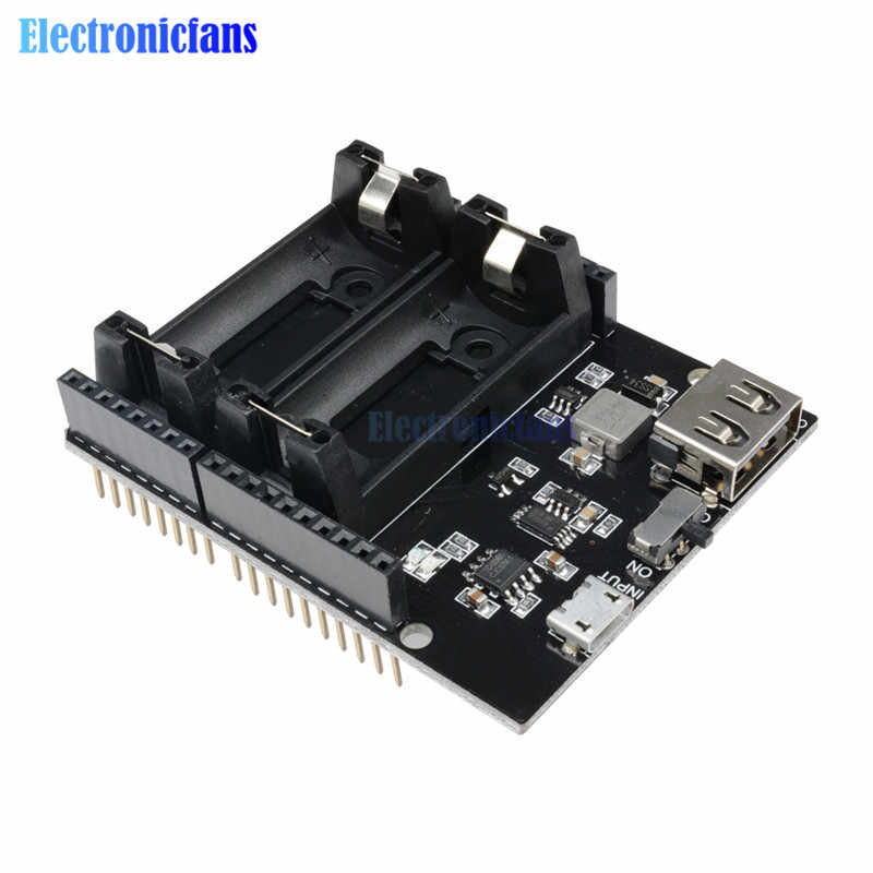 Dual 16340 Rechargeable Lithium Battery Charger Shield Board ESP8266 ESP32 2 Double Power Bank Module For Arduino UNO R3 ONE