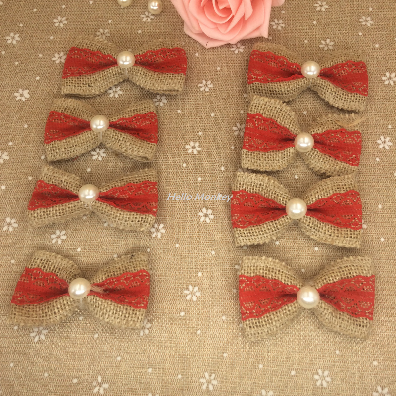 Natural Jute Burlap Hessian Bowknot Handmade Pearl Bow red Trim Lace Vintage Wedding Decoration Hair Bow Hat Craft