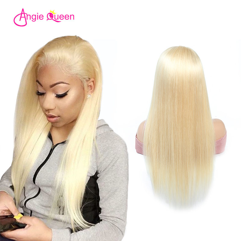 ANGIE QUEEN Malaysian hair Straight 613 wigs human virgin hair blonde full lace wigs 120/130/150% remy hair 613 full lace wigs(China)
