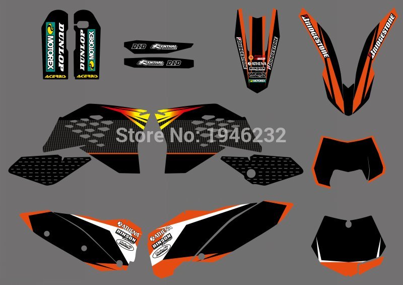 MOTORCYCLE <font><b>GRAPHIC</b></font> DECALS STICKERS BACKGROUNDS FOR <font><b>KTM</b></font> SX SXF FULL SIZE MODEL 2007-2010 <font><b>EXC</b></font> XCF <font><b>2008</b></font> 2009 2010 2011 image