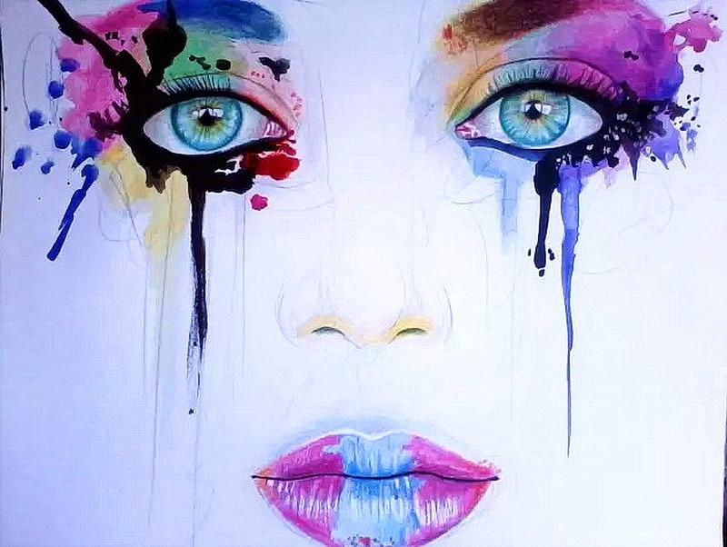 Abstrak Buatan Tangan Lukisan Warna Warni Perempuan Portrait