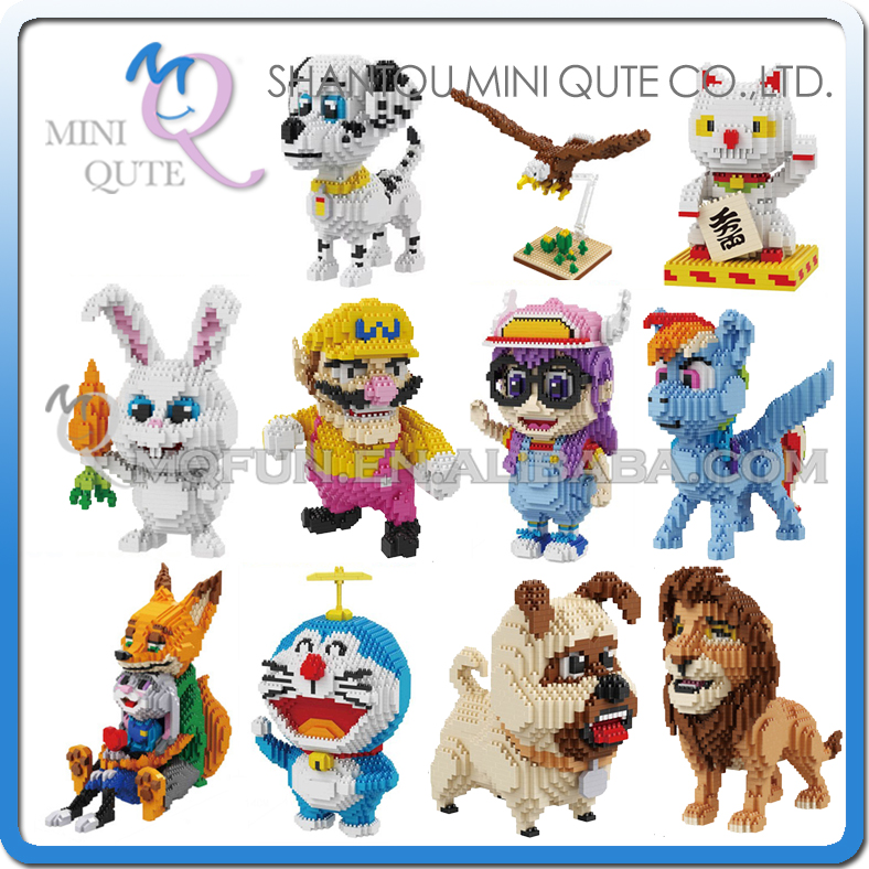 Mini Qute BALODY huge cartoon Fortune Cat Arale Simba Nick Doraemon building blocks brick action figures model educational toy mini qute full set 2 pcs lot hc zootopia huge nick wilde judy hopps plastic building block cartoon model educational toy no 9011
