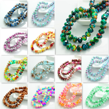 Wholesale Colors 80pcs Rondelle Faceted Crystal Glass Loose Spacer Beads DIY 8mm