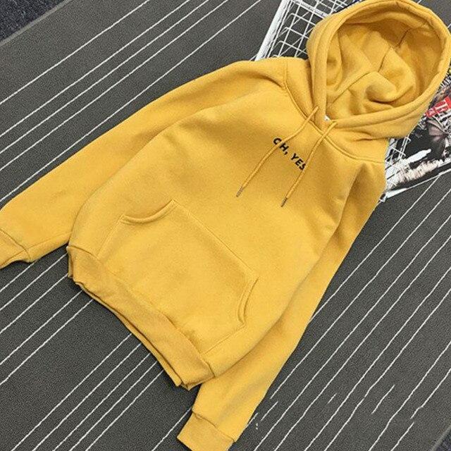ZuoLunOuBa Autumn Winter Fashion Women Fleece Thickening Long sleeve Sweater Letter Oh Yes Harajuku Loose Pullover Size S-XXL