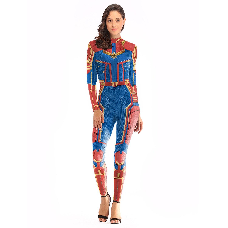 Gewijd 2019 Nieuwe Captain Marvel Cosplay Kostuum Zentai Party Jumpsuits Halloween Sexy Volwassen Mermaid Kleding