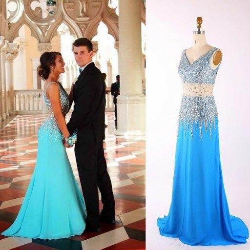 Robe de bal de mode élégante une ligne v-cou perles cristaux ceinture balayage Train Elie Saab longue robe de bal robe de soirée Vestidos - 2