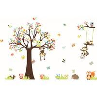 1Pcs Cute Cartoon Forest Animal Monkey Owls Tree Kids Room Wall Decor Decoration Wall Sticker Vinyl
