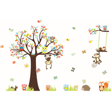 1Pcs Cute Cartoon Forest Animal Monkey Owls Tree Kids Room Wall Decor Decoration Wall Sticker Vinyl Home Decal Wall Stickers Art