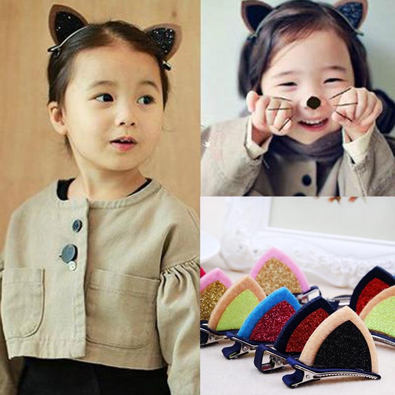 New 2PSC/Lot Girls Cute Cat Ear Hairpins Princess Shining Hair Clips Barrettes Children Headbands Kids Hair Accessories   Headwear