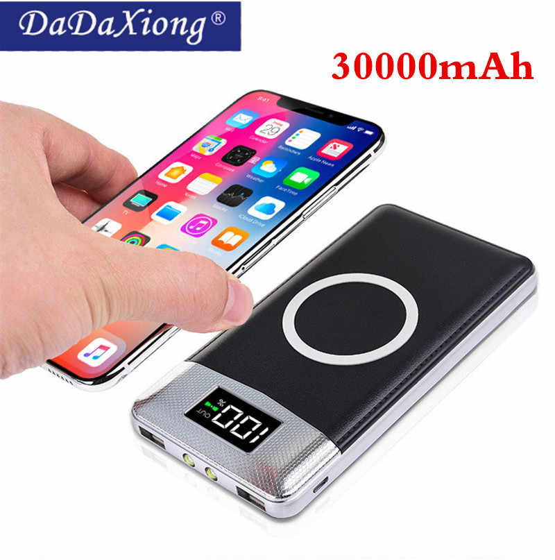 2019 Nirkabel 30000 MAh Power Bank External Battery Bank Built-In Nirkabel Charger Powerbank Portable Charger untuk IPhone8 X Note9