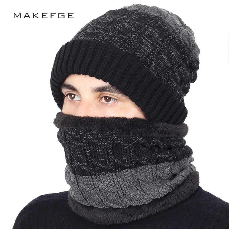 c3815601a0b 2018 New Fashion Striped Knit Beanie Hat Scarf 2 Pieces Set High Quality Men  Women Cotton