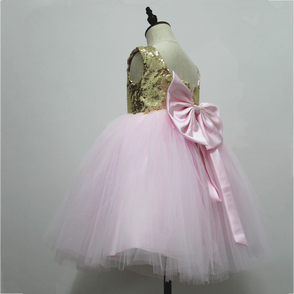 Pink Teen Wedding Dress Sequin Knee Length O-neck Paillette Girls Sequin Dress for Girls Sequin Evening Dress Tutu with Bowknot (14)