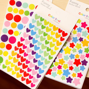 6 hojas/bolso del corazón forma de estrella papelería kawaii lindo colorido del arco iris pegatinas de papel de oficina de la escuela envío gratis 06431