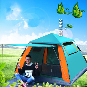 235*235*145cm 4~5 Person Camping Tents Waterproof Beach Tent Fishing Hiking Dual Layers Rainproof Tent Automatic Quick Opening