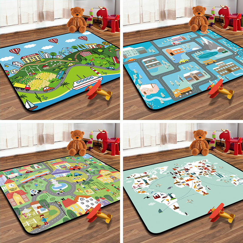 Baby Playing Crawling Mat Floor Rug Children Bedroom Kids Play Mat Kids Rug With Roads City Street Word Map Carpet For Boys Pad