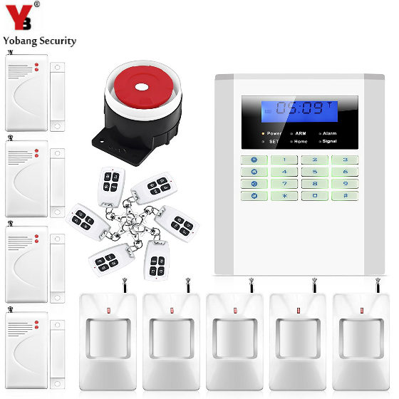 YobangSecurity 433Mhz LCD Wireless GSM PSTN Home Alarm System English Rsussian Spanish Czech Voice Door Detector PIR Sensor Kit yobangsecurity lcd screen keyboard gsm pstn dual network alarm system for home security wired siren pir detector door sensor
