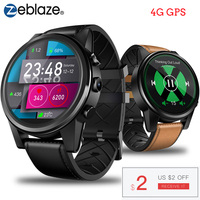 Zeblaze THOR 4 PRO 4G SmartWatch 1.6 inch Crystal Display GPS/GLONASS Smart Watch Quad Core 1GB+16GB 600mAh 5.0MP Leather Strap