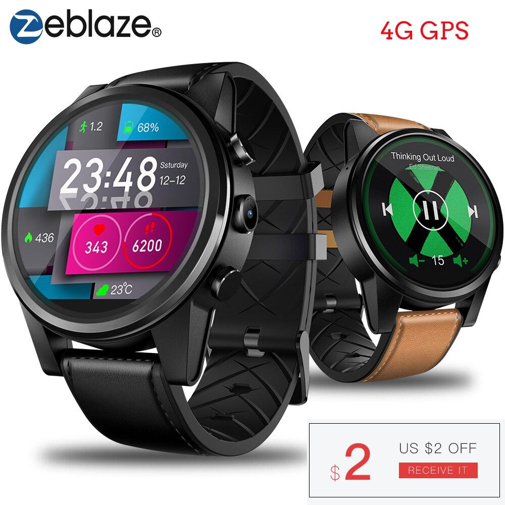 Zeblaze THOR 4 PRO 4G SmartWatch 1.6 pouces affichage en cristal GPS/GLONASS montre intelligente Quad Core 1 GB + 16 GB 600 mAh 5.0MP bracelet en cuir