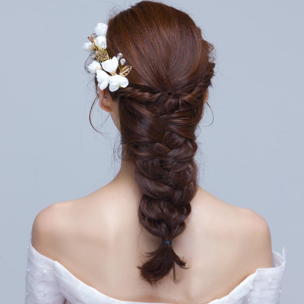 2017 new wholesale bridal white flowers hair accessories korea