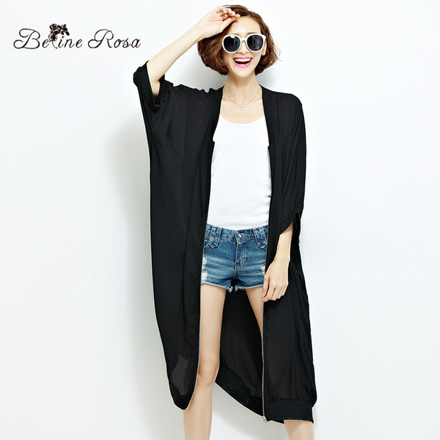 2016 European Black Trench Coat Plus Size Simple Brief Style Pure Color Zipper Spring Autumn Trench(BelineRosa HS0087)