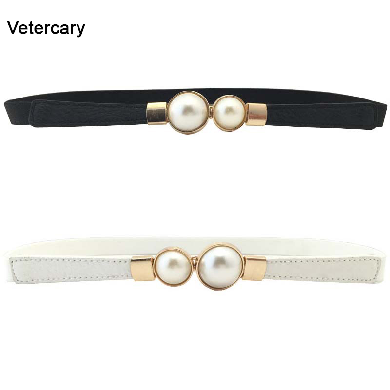 Hot Sale Pearl Belts For Women Red PU Leather Thin Design Woman Waistaband Stylish Narrow Strap For Jeans Dress Cinturon Mujer