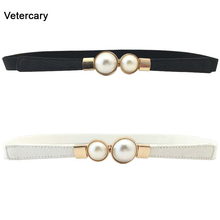 Hot Sale Pearl Belts For Women red PU Leather thin Design Wo
