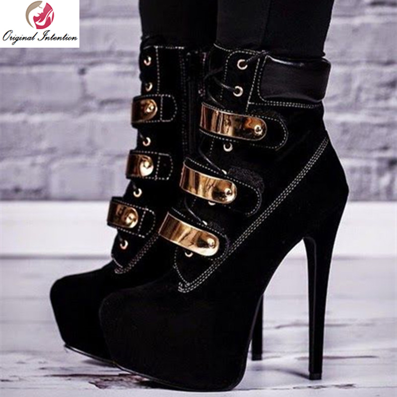 Oryginalny intencji popularne kobiety kostki buty platformy okrągłe Toe cienkie buty na wysokim obcasie kobiet czarne buty kobieta Plus rozmiar 4 20 w Buty do kostki od Buty na  Grupa 1